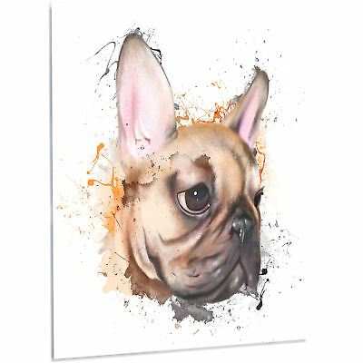 """'Brown Watercolor French Bulldog' Painting Print on Metal 48"""" H x 40"""" W x 1"""" D"""