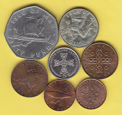 Isle of Man  small lot of 7 coins........................23