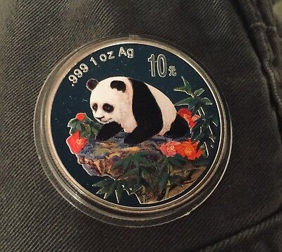 CHINA 1999 SILVER PANDA 1oz COLORIZED PROOF 10 yuan COIN MINT CAPSULE PF COLORED