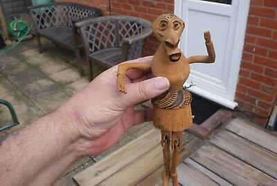 Vintage Folk Art Figure Hand Carved Wooden Puppet, Articulated Legs