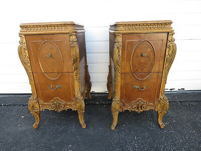 French Tall Hand Carved Inlay Pair of Nightstands End Side Tables 9480