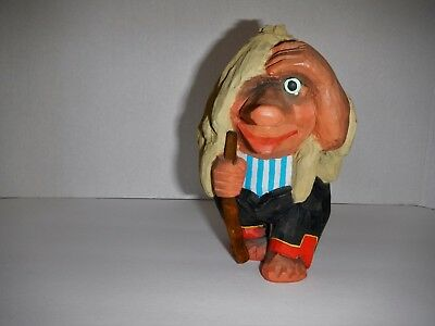 """VTG Henning Norway Hand-Carved Wood  """"Troll From Rondane""""   7""""  Walking Stick"""