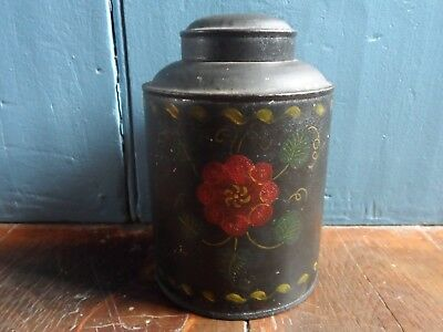"""Antique 19th C. Tin Toleware Flower Decorated 6 1/4"""" Tea Caddy Spice Canister"""