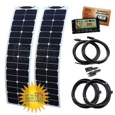 100W 12V dual battery twin narrow flexi solar charging kit motorhome camper boat