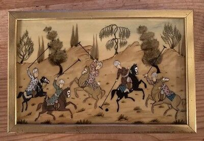 Antique Vintage Middle Eastern Persian Arabian Picture Painting Horses Polo