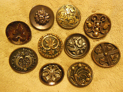 Lot Of 10 Antique Vintage Metal Buttons Assorted Styles Nice!!