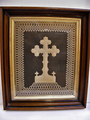 Antique FRAMED HAND CUT PAPER RELIGIOUS Art CROSS SCHERENSCHNITTE Layer Papercut