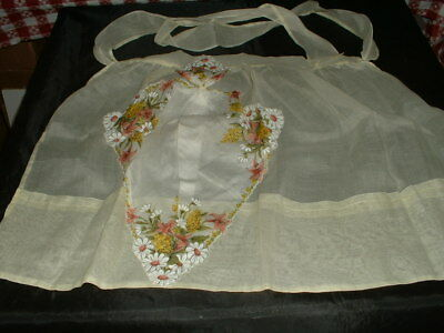 Vintage 1970's Cotton Voile Yellow Apron W/Daisy & Other Flower Trim