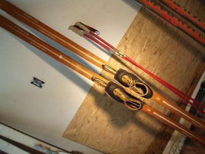Classic All Wood X-C Skis With All Leather Boots, Bamboo Poles Package