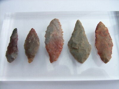 5 Ancient Neolithic Flint Arrowheads, Stone Age, VERY RARE !!  TOP !!