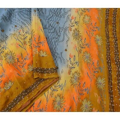 Sanskriti Vintage Blue Saree Pure Crepe Silk Hand Beaded Craft Fabric 5 Yd Sari