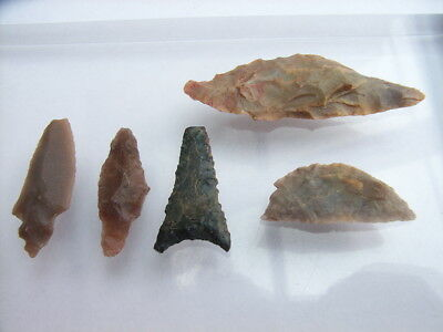 5 Ancient Neolithic Flint Arrowheads, Circles, Stone Age, VERY RARE !!  TOP !!