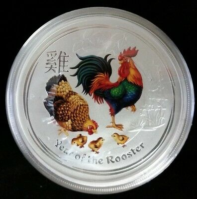 2017 $2 Australia Lunar Year Of the Rooster Colorized 2 Oz Silver Coin From Roll