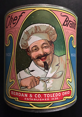 1920 Rare Chef Brand Baked Beans Label on an Old Wax Seal Can - Toledo, Ohio