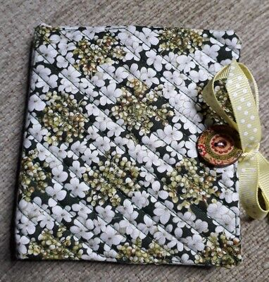 Quilted Handmade Needle Book Green Royal Horticultural Fabric wooden button