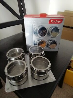 4 x magnetic spice jars and base