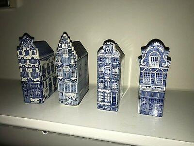 Vintage Delft Blue Miniature Hand Painted Houses Set of 4 W/ Red Light District