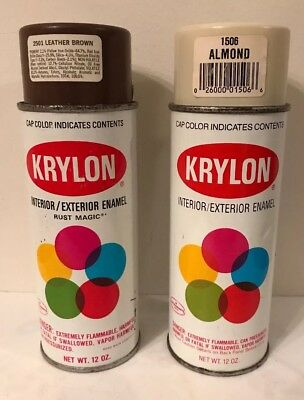 Vintage Krylon Spray Paint Cans Almond And Leather Brown lot Of 2 Cans