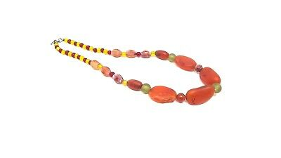 ANCIENT Multi-Color  & Variety  Sizes  Carnelian BEADS THAILAND  NECKLACE