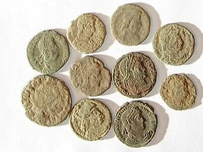 10 ANCIENT ROMAN COINS AE3 - Uncleaned and As Found! - Unique Lot 01104
