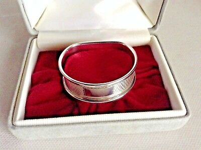 Vintage S/Silver D Shaped Napkin Ring by Birm Mkr W I Broadway & Co 1991 Boxed