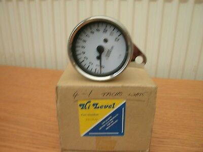MOTOR CYCLE TACHOMETER,60mm, CHROME,1-12, UNUSED,EXCELLENT CONDITION,BY HI LEVEL