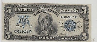 $5 Chief Silver Certificate 1899 Solid Eye Appeal