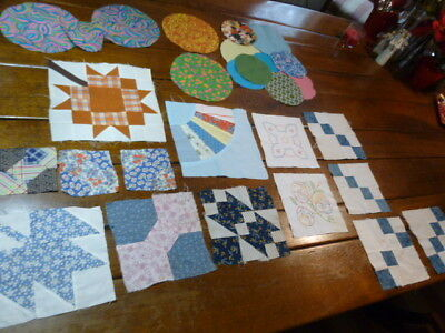 Lot  Vintage and Antique Quilt Block Pieces Hand Stitched  Feedsack Cotton