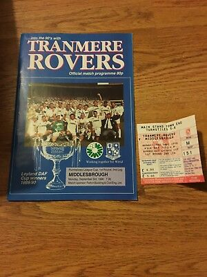 Tranmere Rovers V Middlesbrough Football Programme 1990 & Match Ticket