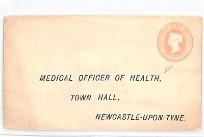 BM93 GB PENNY PINK 1890s Newcastle *Medical Officer of Health* Stationery Cover