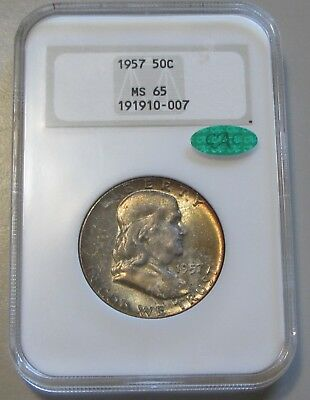1957 Franklin Half Gem Ngc Ms 65 Cac Old Holder