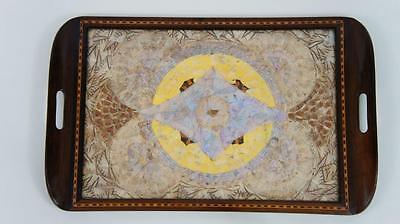 Inlaid Rosewood Butterfly Serving Tray  62 cm x 38 cm - VGC