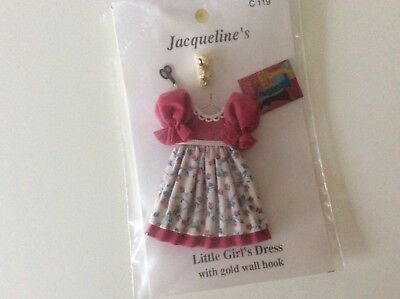 Dolls house miniature 1:12 handmade little girl's dress for bedroom, nursery