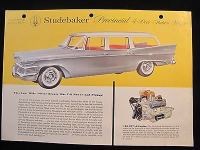 1958 Studebaker Original Data Spec Shee Brochure Provincial 4-Door Station Wagon