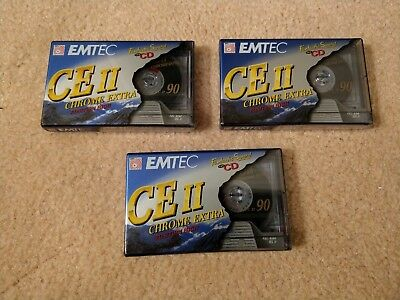 3 NEW EMTEC CE II Chrome Extra C90 Blank Cassette Tapes Sealed 90 Minutes
