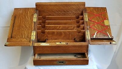 Antique Victorian tiger oak stationery writing box compendium Parkins & Gotto