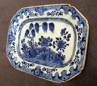 CHINESE 18thC PLATTER ANTIQUE BLUE AND WHITE HAND PAINTED PLATTER