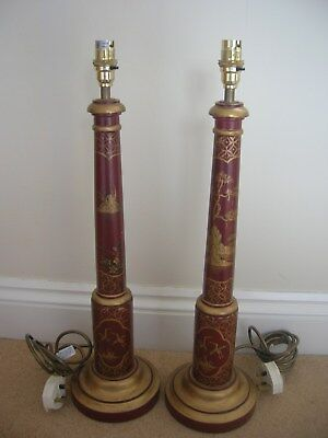 Pair of Large Chinese Oriental Antique Style hand painted lamp bases