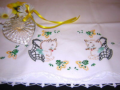 Sunny Yellow KITTY VALENTINE HEART Hand Embroidered Crochet Vtg Pillowcase CUTE!