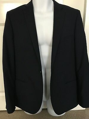 TM Lewin Mens Navy Blue Super 100 Pure Merino Wool Suit Jacket - 38S