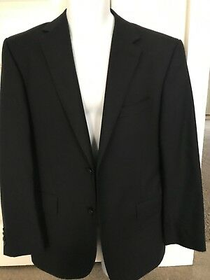 TM Lewin Men's Navy Blue Striped Super 120's Pure Merino Wool Suit Jacket - 38S
