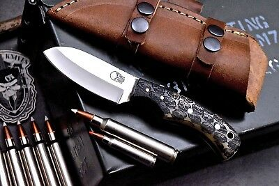 CFK USA Custom Handmade D2 SKULLS Scrimshaw Bone Small Caping Blade Hunter-Knife