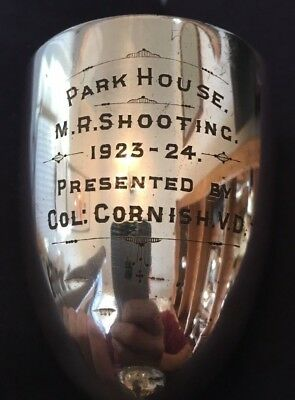 1923 Park House shooting vintage silver plate trophy, loving cup, trophies