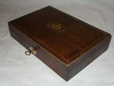 Antique Victorian Draughtsman Drawing Set Brass Boulle Work Inlaid Rosewood Box