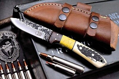 CFK USA Custom Handmade Hammered D2 BUFFALO & INDIAN Scrimshaw Bone Blade Knife