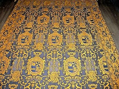 Vintage Mulberry blue ocher mustard heraldic aristocratic large fringed throw