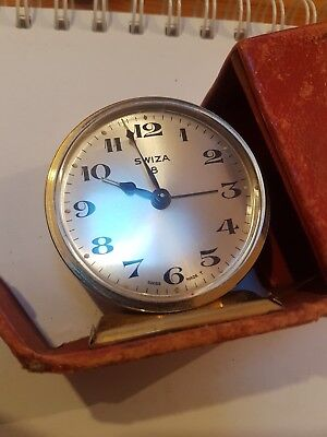 (M) Vintage Swiza Swiss Made Travel Clock With Alarm