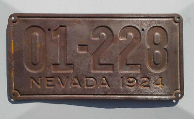 1924 Nevada License Plate, Low Number #01-228