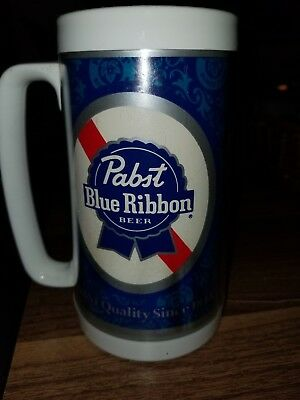 Pabst Blue Ribbon Beer Thermo-Serv Mug, White with Older Logo