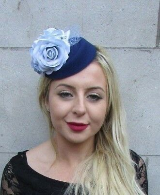 Navy Light Blue Rose Flower Pillbox Hat Hair Fascinator Clip Floral Races 6783